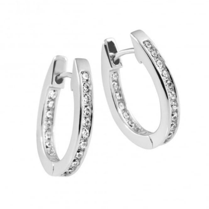 Silver Cubic Solitaire Creole Earrings 62-1735-1-082