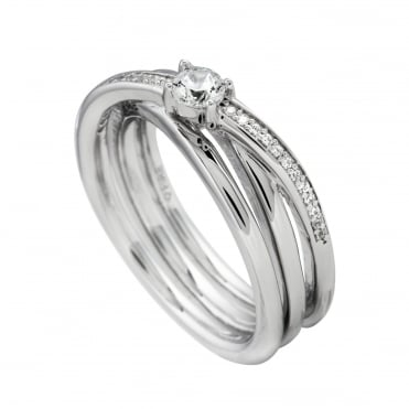 Silver Cubic Triple Band Ring 61-1340-1-082