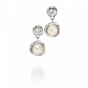 Fiorelli Silver CZ & Fresh Water Pearl Set Earrings E4372W