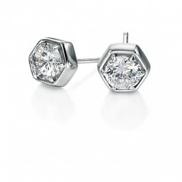 Fiorelli Silver CZ Hexagional Earrings E4688C