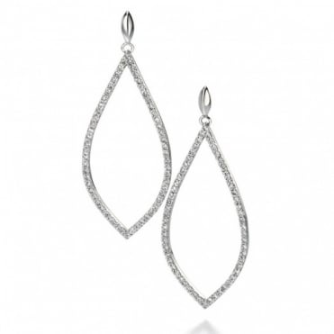 Fiorelli Silver CZ Pave Cutout Teardrop Earrings E4860C