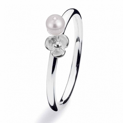 Spinning Jewelry Silver Flora Pearl Ring 114-05