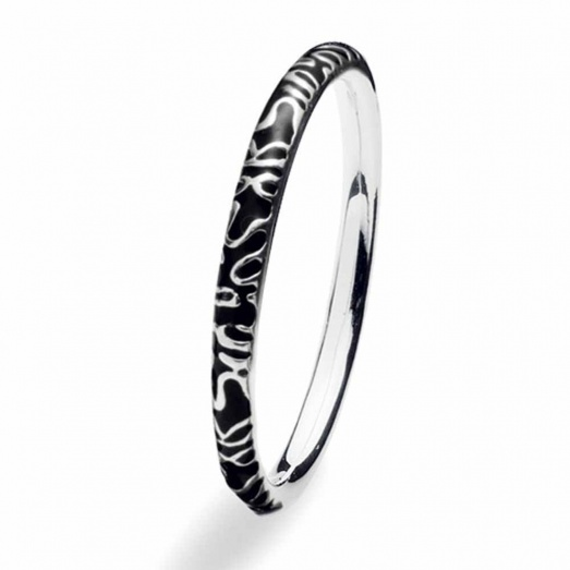 Spinning Jewelry Silver Globe Black Ring 138-03