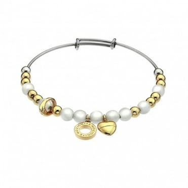 Silver & Gold Plate White Mother Of Pearl Bangle DC131