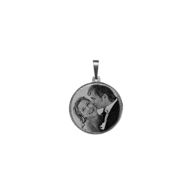 Silver Large Laser Photo Pendant