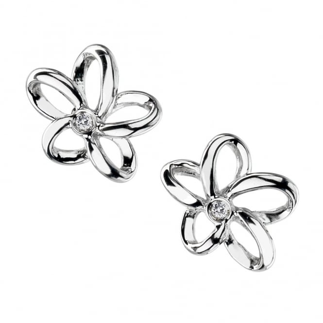 Silver Open Petal Stud Earrings DE248