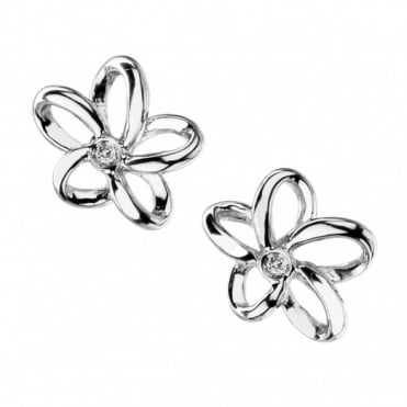 Hot Diamonds Silver Open Petal Stud Earrings DE248