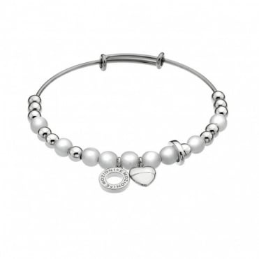 Emozioni Silver Plate White Mother Of Pearl Bangle DC129