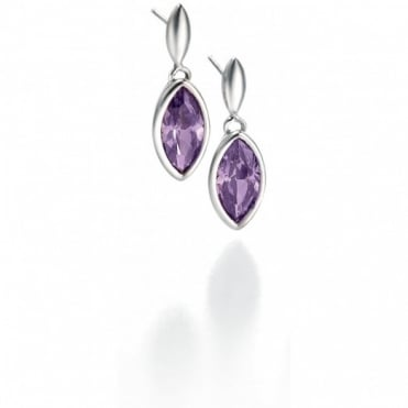 Silver Purple CZ Set Earrings E3677M