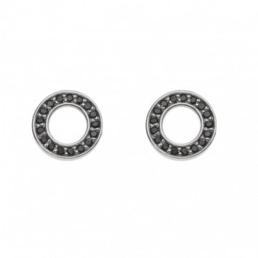 Silver Saturno Black CZ Stud Earrings DE405