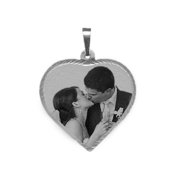 Silver Small Laser Photo Pendant