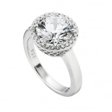 Silver Solitaire Cocktail Ring 61-1263-1-082