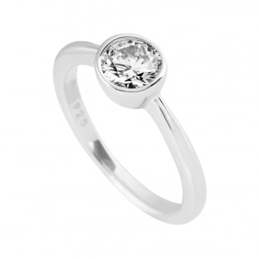 Silver Solitaire Rub Over Ring 61-1813-1-582
