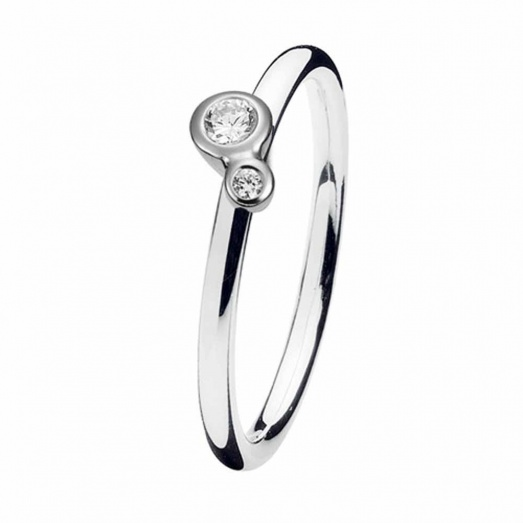 Spinning Jewelry Silver Soul Mates CZ Ring 127-05