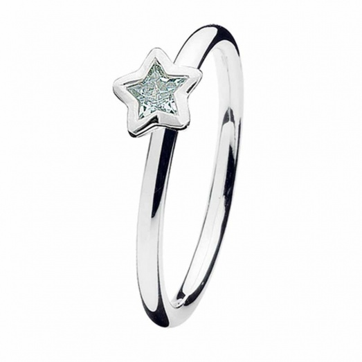 Spinning Jewelry Silver Star CZ Ring 162-07