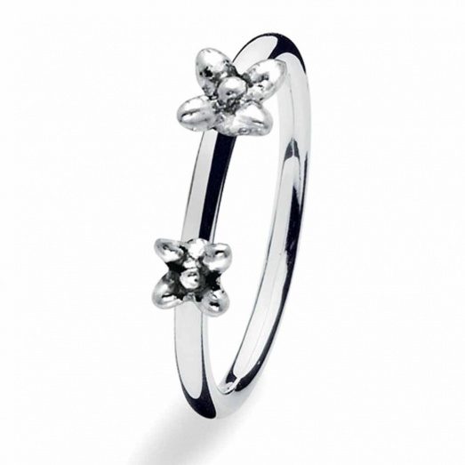 Spinning Jewelry Silver Twin Flowers Ring 160-00