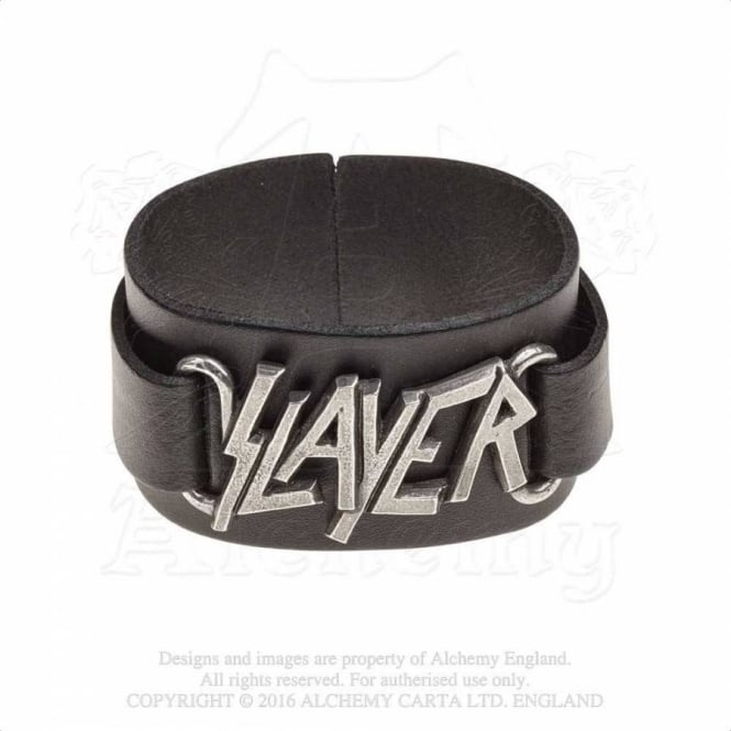 Slayer Logo Leather Wriststrap HRWL445