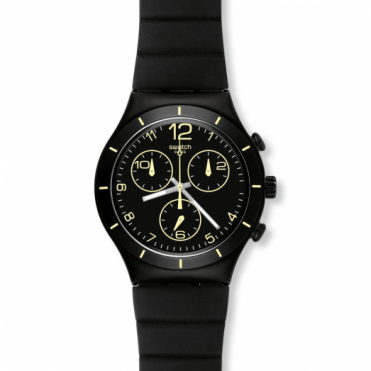Swatch Gents Black Chronograph Watch YCB4021
