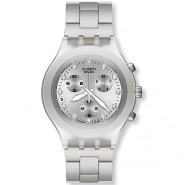 Swatch Gents Full-Blooded Silver Chronograph Watch SVCK4038G