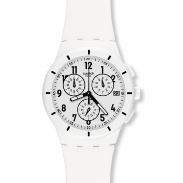 Swatch Gents Twice Again White Chronograph SUSW402