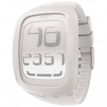 Swatch Unisex White Touch Alarm Chrono Watch SURW100