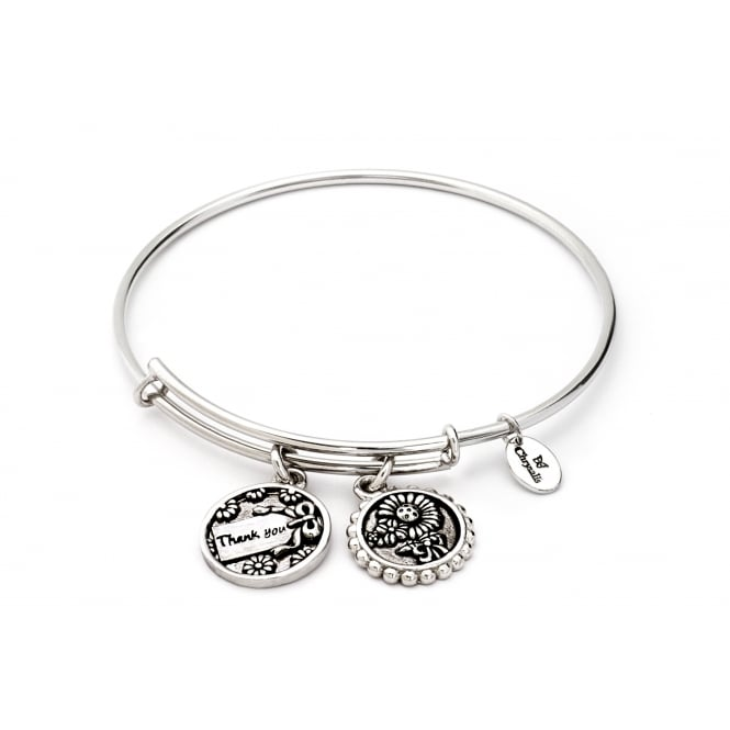Thinking Of You Thank You Rhodium Plated Bangle CRBT0716SP