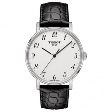 Gent's Black Leather Everytime Watch T1094101603200