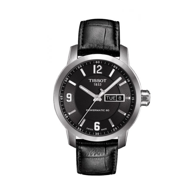 Gent's Black Leather PRC200 Powermatic 80 Watch T0554301605700