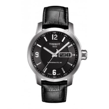 Tissot Gent's Black Leather PRC200 Powermatic 80 Watch T0554301605700
