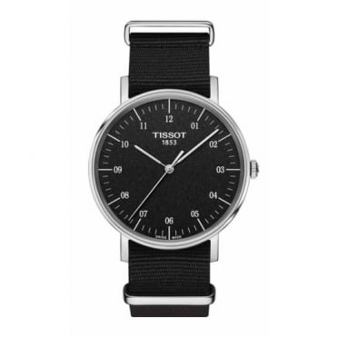 Gent's S/Steel Black Fabric Everytime Watch T1094101707700