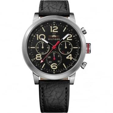 Tommy Hilfiger Men's Black Leather Jake Watch 1791232