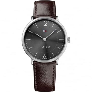Tommy Hilfiger Men's Brown Leather James Watch 1710352