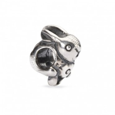 Silver Easter Bunny Bead 11297
