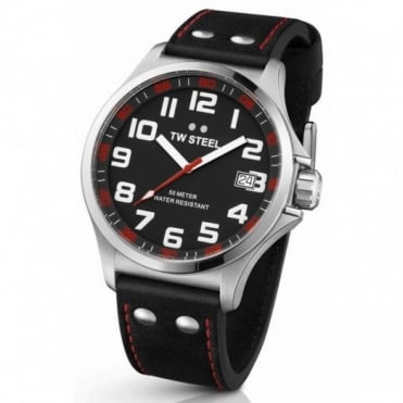 TW Steel Pilot S/Steel With Black Leather Strap Watch TW410