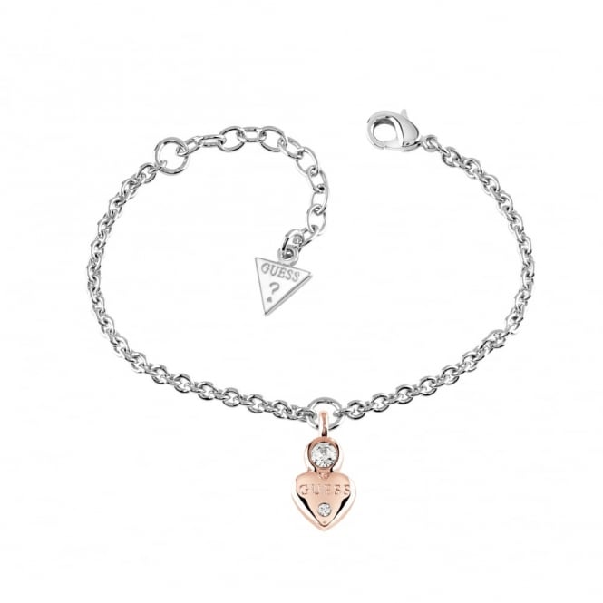 Two Tone Guessy Little Heart Bracelet UBB82014-L