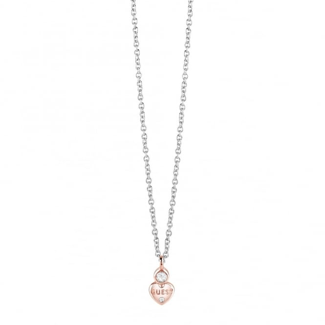 Two Tone Guessy Little Heart Necklace UBN82014