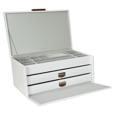 Dulwich Designs White Leather Large Jewellery Box 71108